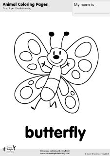 Free Butterfly Coloring Page From Super Simple Learning Tons Of Animal Worksheets And Flashcards