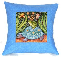 Quilted Pillow Cover Folk Art Frog Prince Riding on by NHQuiltArts