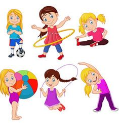 Vector Fisica Cartoon little girls with different hobbies Vector Image Math For Kids, Yoga For Kids, Exercise For Kids, Activities For Kids, Kindergarten Rules, Kindergarten Worksheets, Pretty Wallpapers Tumblr, Hobbies For Girls, Kids Background