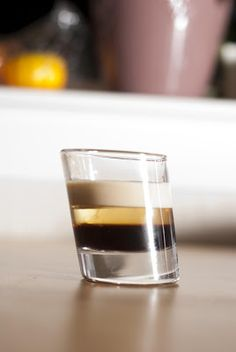 Beam Me Up Scotty (1/3 oz coffee liqueur 1/3 oz creme de banana 1/3 oz Irish cream)