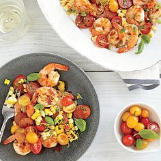 Shrimp, Chorizo, and Corn Salad - 256 calories and 18 grams of protein. This is delicious - we grilled the corn, shrimp and chorizo