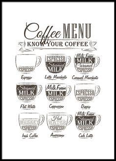 Schönes Plakat mit Kaffeegetränken