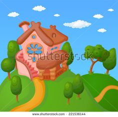 Childish cartoon landscape with little house and trees - stock vector
