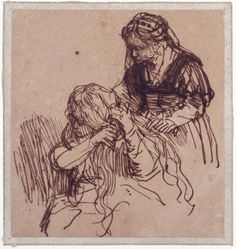 Rembrandt van Rijn Woman Having Her Hair Combed, pen and ink, 1637 Rembrandt Etchings, Rembrandt Drawings, Life Drawing, Figure Drawing, Drawing Sketches, Classic Paintings, Old Paintings, Indian Contemporary Art, Drawing Studies