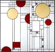 Frank Lloyd Wright stained glass in desert palette . . . subtle and soothingly geometric.