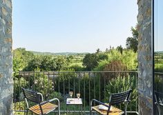Green and pleasant land: The view from Ecume des Jours' balcony is the stuff of dreams
