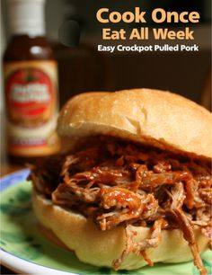 Feed your crowd pulled pork for a week with this easy Outta The Park crockpot recipe! Great for game days and busy work weeks.