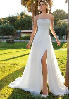 Split Side Sexy Beach A Line Wedding Dress 2015 Strapless Zipper Sweep Train Sleeveless Ruched Crystal White Chiffon Bridal Gown, $115.19 | DHgate.com