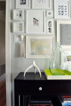 how to create a photo frame collage on a big open wall