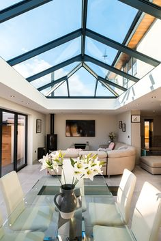 House Extension Plans, House Extension Design, Garden Room Extensions, House Extensions, Kitchen Extension With Roof Lantern, Kitchen Orangery, Open Plan Kitchen Dining Living, Open House Plans, Atrium