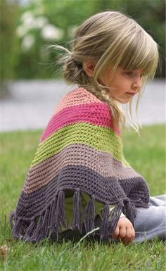 Bergere de France Poncho Crochet Pattern The little girl is adorable, too! Crochet Poncho Patterns, Crochet Scarves, Crochet Shawl, Crochet Clothes, Knitting Patterns, Knit Crochet, Mode Crochet, Crochet Girls, Crochet For Kids