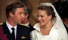 KING PHILIPPE AND QUEEN MATHILDE OF BELGIUM  Seen here on their wedding day in 1999, when aristocrat Mathilde was the ultimate starry-eyed bride. The Belgian royal couple are still going strong.
