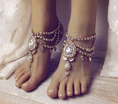 Bali Barefoot Sandals in Gold Rhinestone Anklet by BareSandals