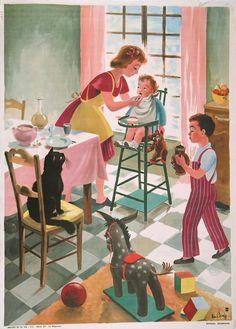 Original vintage 1950s French school poster, educational, childrens poster via Etsy