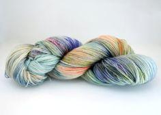 Sock Yarn Hand Dyed superwash  Sock Knitting yarn in 75 % Superwash Merino, 25% nylon (for strength and durability)    Hand dyed | orange | teal |