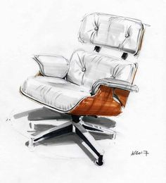 Eames Lounge Chair by Drawing Furniture, Chair Drawing, Plywood Furniture, Furniture Sketches, Furniture Legs, Barbie Furniture, Garden Furniture, Cheap Furniture, Interior Design Sketches