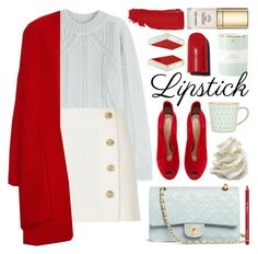 fall beauty: red lipstick by jesuisunlapin on Polyvore featuring polyvore fashion style Vionnet Derek Lam River Island Gianvito Rossi Chanel Eshvi Dr.Hauschka Dolce&Gabbana Kate Spade Denby clothing