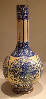 Composite body, painted, and glazed bottle. Dated 16th century. From Iran. New York Metropolitan Museum of Art.