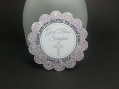 BAPTISM tags-  Whisper Pink glitter - Rounded cross - RESERVED