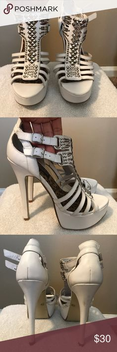 Sexy white heels White strappy studded heeled sandals - Worn once to a dance party. Very comfortable Chinese Laundry Shoes Heels