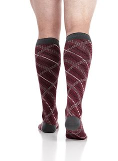 VIM & VIGR Compression Socks - Men's Plaid: Maroon & Grey (Cotton)