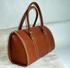 80s Vegan Doctor Bag Art Deco Orange Tan RARE Speedy Large Stiff Faux Leather Eco Train Case Handbag Womens Vintage Mod Tote Satchel Purse by MushkaVintage3 on Etsy