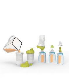 Finally!  A one-stop-shop for ALL feeding needs.  The Foodii Starter Kit allows one to use the same pouches for breast milk (they attach directly to breast pumps!), formula, or pureed food.  Pouches can also be used with certain nipples, snack spouts, and squeeze spoons.