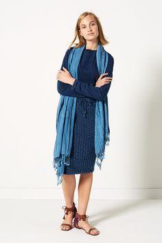 Indian Summer   Fashion   Sweater   Skirt   Dark blue   Scarf   Denim   Lookbook