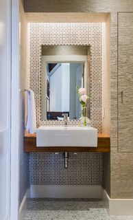 Back Bay - Modern - Powder Room - boston - by Annie Hall Interiors. Prefer this basin 1/2 embedded in the wood rather than those sinks that are just full sitting on top of wood slab as they are usually ver shallow and lots of splashing happens when turning the faucet on
