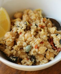 Bulgar Wheat salad with chickpeas, sundried tomatoes and lemon