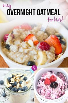 Easy Overnight Oatmeal Recipes for Kids: One whole month of scrumptious oatmeal recipes that are EASY to make and YUMMY to eat! The Oatmeal, Easy Overnight Oatmeal Recipe, Oatmeal Recipes, Overnight Oats, What's For Breakfast, Breakfast Dishes, Baby Food Recipes, Healthy Recipes, Kids Meals