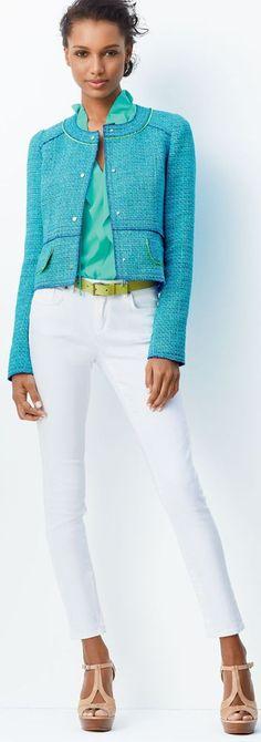 Tahari Woman Linton tweed jacket Use Style arc coco Contrast trim