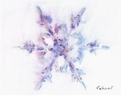 Snowflake 2 Original Watercolor 8x10 by TrueImpressions on Etsy, $17.00