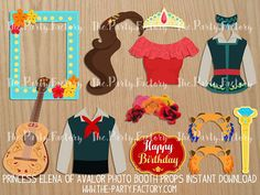 Princess Elena of Avalor Photo Booth Props Instant Download