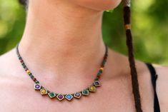 This necklace is adjustable and it has got 1 chain to arrange it's length. Trendy Necklaces, Geometric Necklace, Hippie Style, Fashion Necklace, Minimalism, My Etsy Shop, Beaded Necklace, Colorful, Chain