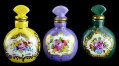 (3) Saxony Dresden Porcelain Perfume Bottles