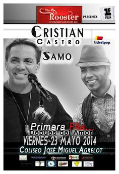 Cristian Castro y Samo: Primera Fila... Después del Amor #sondeaquipr #cristiancastro #samo #despuesdelamor #choliseo #coliseopr #hatorey #sanjuan