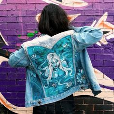 Paint is waterproof and can be washed with a washing machine under to avoid the fading of the colours. Painted Denim Jacket, Nymph, Hand Painted, Colours, Jackets, Painting, Products, Fashion, Nymphs