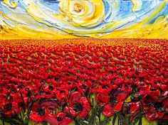 48x36 - Acrylic on Canvas - Flora Series: Poppy Field - Artist, Justin Gaffrey - SOLD