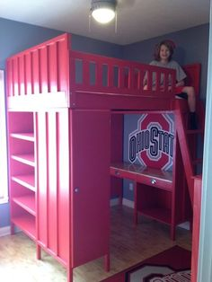 ohio state twin bedding | Ohio State Loft Bed - by BGW @ LumberJocks.com ~ woodworking community