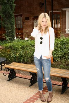 Love the rolled up jeans with ankle boots!