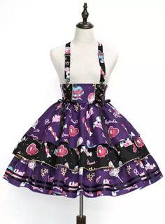 Creepy Sugar Lolita Salopette (2020) in purple/black by Pumpkin Cat