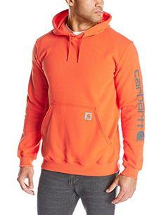 76834a811e60b My new Carhartt, Signature Sleeve Logo Midweight Hooded Sweatshirt, Orange ( Large)