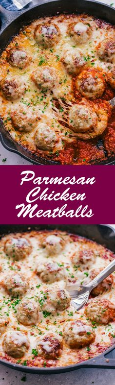 Parmesan Chicken Meatball Skillet served in warm bubbling marina sauce and topped with hot gooey melted cheese, makes this skillet the perfect way to start any occasion. #parmesanchickenmeatballs #chickenmeatballs #chicken #meatballs #cheese #parmesanchicken #chickenparmesan #thefoodcafe #recipes #food #dinner #italianfood