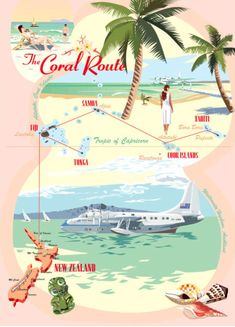 The Coral Route map New Zealand tourism posters Vintage Travel Posters, Vintage Airline, Retro Posters, Poster Vintage, Posters Australia, Teal Coral, Turquoise, Tourism Poster, Air New Zealand