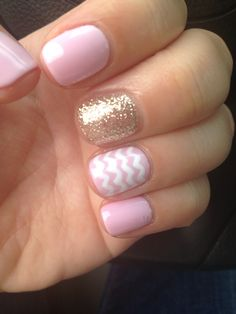 Summer glitter pink chevron gel nails