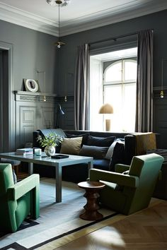 Discover stylish living room design ideas on HOUSE - design, food and travel by House & Garden. This scheme created by Ilse Crawford in Stockholm's Ett Hem hotel combines some serious pieces of modern design with a lightness of touch.