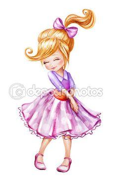 Милая маленькая девочка эскиз Иллюстрация — стоковое изображение #29708363
