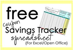 2 free coupon savings tracker spreadsheets