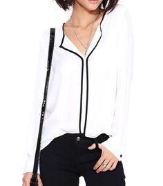 Autumn Spring Polyester Women V-Neck Patchwork Plain Long Sleeve Blouses Shop sexy club dresses, jeans, shoes, bodysuits, skirts and more. Short Sleeve Blouse, Long Sleeve Tops, Long Sleeve Shirts, Tunic Shirt, Shirt Blouses, Chiffon Blouses, Chiffon Shirt, Cheap Blouses, White V Necks